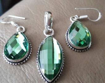 Green Mystic Quartz Pendant and Earring set!