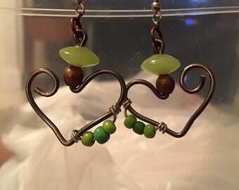 Handmade Wire Heart Earrings