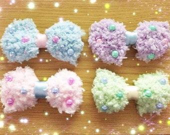 Kawaii Fluffy Bow Hair Clip, Fairy Kei, Pastel Kei, Sweet Lolita, Harajuku etc inspired
