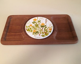 Vintage - teak cheese board with metal painted center plate - perfect condition