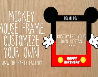 mickey mouse photo booth frame custom design digital file instant download - Mickey Mouse Photo Frame
