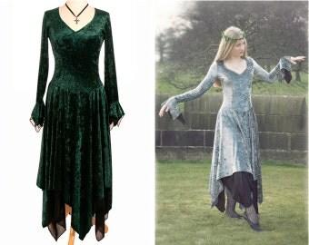 Boho / Pixie Dress 'Spirit Dress' - Silver, Green, Purple