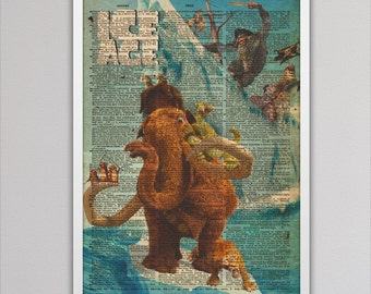 Ice Age art print newspaper decor colorful poster