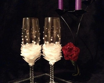 Petal Bride and Groom Flutes