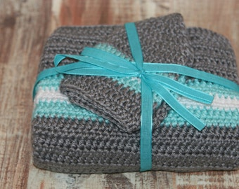Crochet Grey/Robbins Egg(Teal)/Snow Sparkle(White) Striped baby blanket