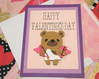 Cupid Bear Valentine's day card, 3d, blank inside, greeting card, customizable