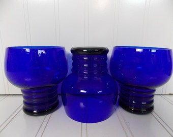 "Set of 3 Vintage Cobalt Blue Drinking Glasses Tumblers 3 3/4"" Tall"