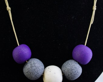 Purple and Granite Polymer Clay Necklace