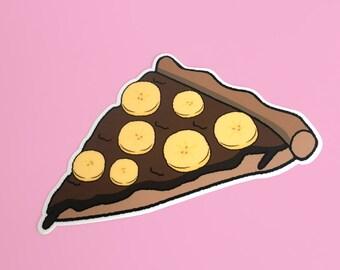 Banana Chocolate Pizza / Weird Food Mashup Vinyl Sticker