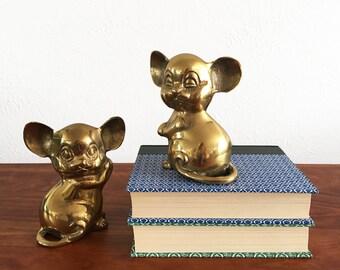 Vintage Brass Mice – Pair