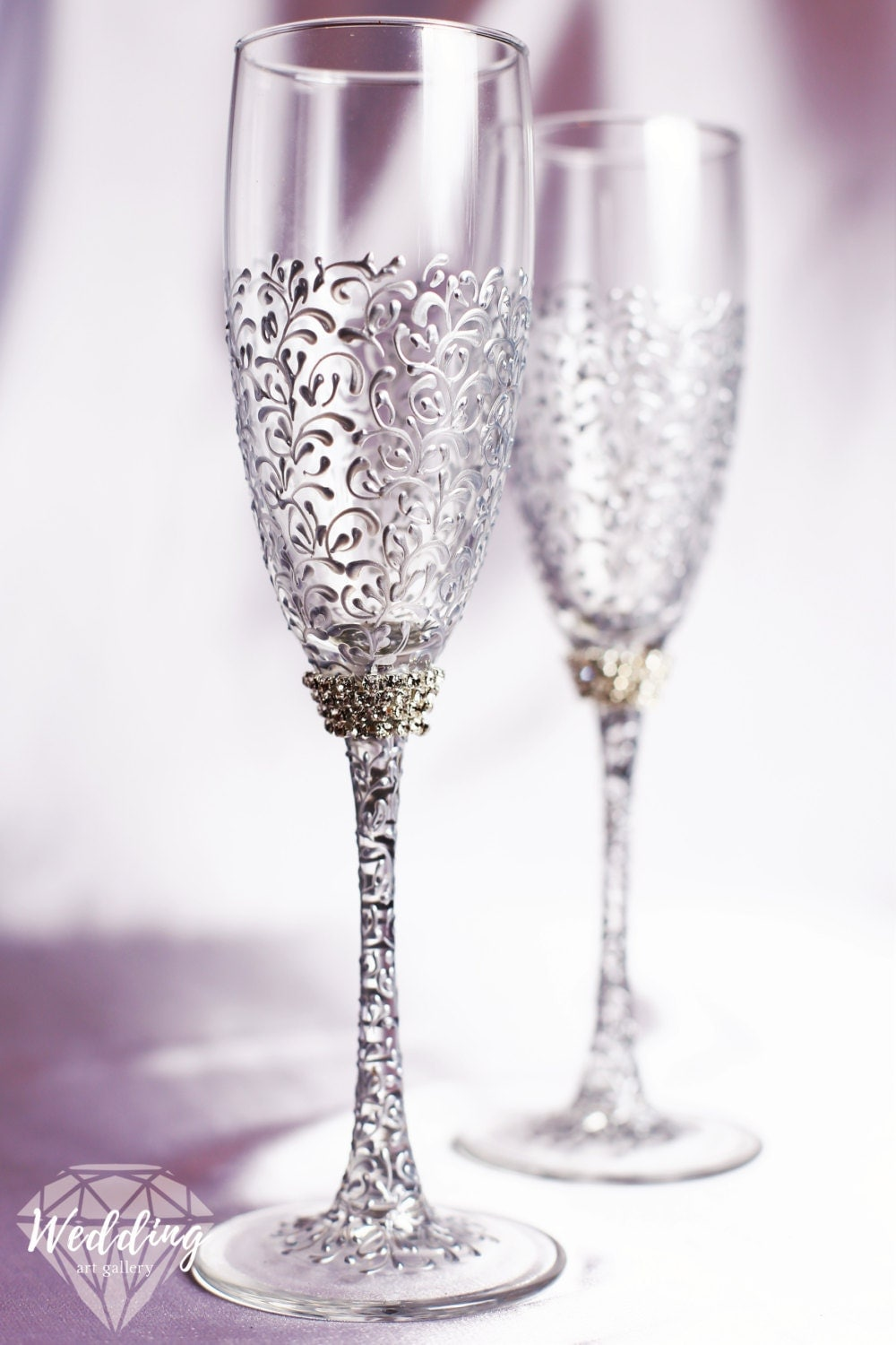 Wedding silver glasses champagne flutes silver wedding for Wedding champagne flutes