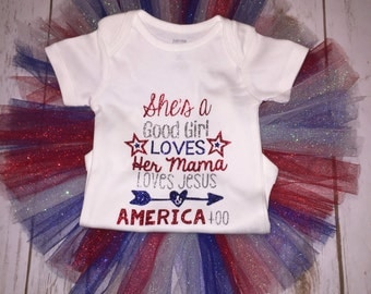 She Love her Mama, Loves Jesus & America too Outift