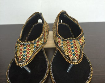 Hand Embroidered Rajasthani Sandals - Gold/Multi