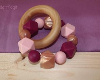 Plum Cotton Candy Rose Gold Teething Ring