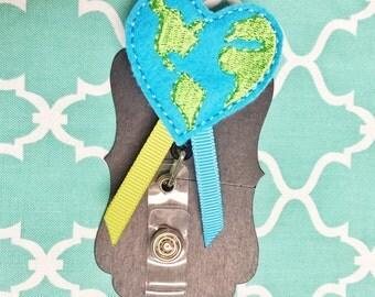 Earth heart badge holder great for nurses or teachers!