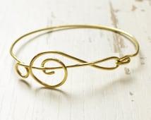 Treble Clef Bracelet, Note Bangle, Music Bangle, Brass Cuff, Gold Jewelry, wire bracelet, wire wrap
