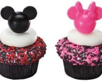 Mickey and Minnie Mouse cupcake picks/ black and pink/24 ctn