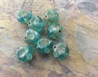 15 Aqua Central Cut  Czech Glass Round Beads, 8mm