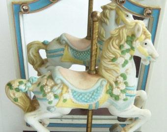 Porcelain Horse Music Box - Carousel Horse