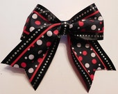 Black Bow with Red and White Polka Dots and small Silver Sequins
