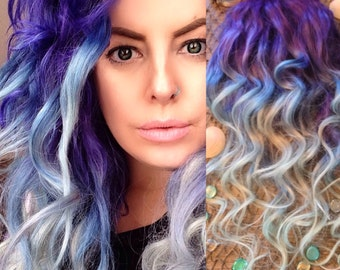 Purple Hair, Blue Hair Extensions, Ombre Hair Extensions, Pastel Hair, Mermaid Hair, Hair Extensions Clip in, Thick Hair