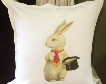 Rabbit pillow, Rabbit cushion, bunny pillow, magic rabbit, bunny cushion, animal pillow, throwpillow, bunny rabbit pillow, pillow cover
