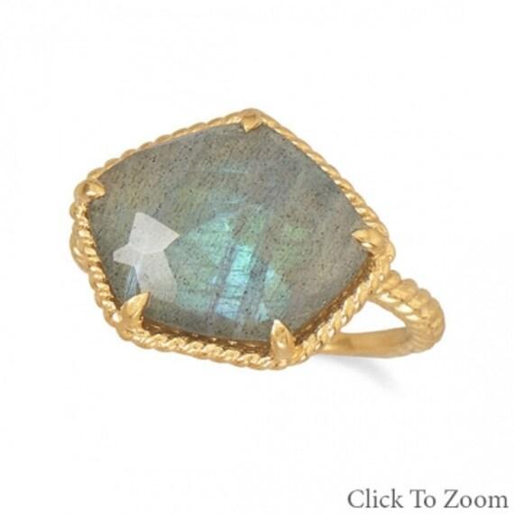 14 Karat Gold Plated Labradorite Ring