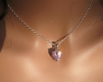 Heart Necklace Valentines Day Necklace Pink Heart Necklace