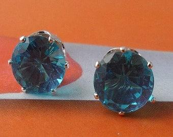 Aquamarine, Crystal, Stud, Earrings Medium Size