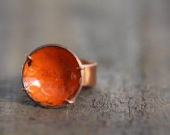 Circular Orange Enamel and Copper Ring  Sized for Larger ladies.Size U in Australian and   10 1/4 in USA