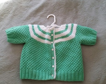 Green and White Toddler Sweater Button up. Handmade
