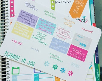 Daily Affirmations - Small - Planner Stickers , EC Life Planner, KikkiKPlanner, Scrapbooking 046