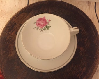 Imperial Rose Fine China Japan 6702 tea cup and saucer set