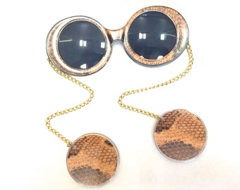 Vintage 1960s Rare Sunglasses with Chains and Faux Snake Print Earrings
