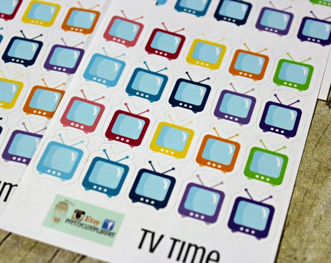 TV Show Reminder Stickers - Reminder Stickers - Planner Stickers - ECLP Stickers - Happy Planner Stickers - TV Time Stickers - Television