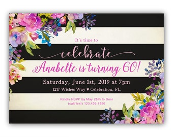 60th Birthday Invitations for Women - 60th Birthday Invites - 60th Birthday Party Invitations - 60th Birthday Invitation PRINTABLE - Pink
