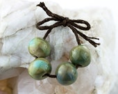 Olive green and mint green porcelain bead set-Ronnie's beads