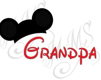 Grandpa Family Grandma Mickey Mouse Head Disney Family Download Iron On Craft Digital Disney Cruise Line Magnet Shirts