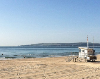 Dorset, beach photograph, life guard station, colour, original, mounted, digital print, sun, sea, summer