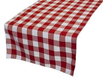 Zen Creative Designs Premium Cotton Table Top Runner Gingham Checker Red