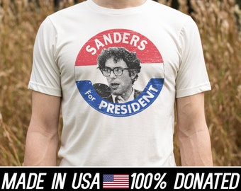 Bernie Sanders Shirt t-shirts Election Pin tee Organic Cotton Recycled Poly blend 100% Profits Donated  2016  Royal Apparel