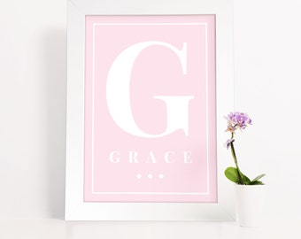 Baby Girl, Baby shower, Nursery Decor, New baby gift, Newborn, girly, soft pink or blue initials, personalised gift, Framed Print, PP2