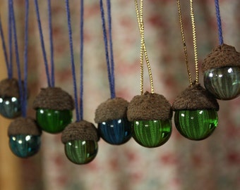 Glass Acorn Ornaments