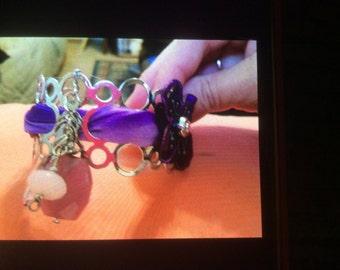 Silver and purple cuff