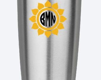 Sunflower Initials Monogram Vinyl Decal - Yeti Decal - Car Decal - Iphone Decal - Ipad Decal- Tervis Decal