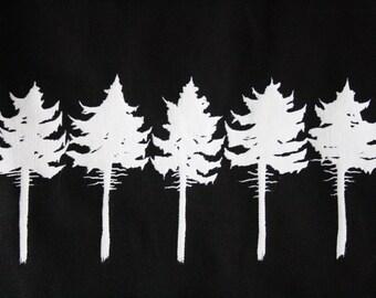 conifer tree silkscreen tote bag