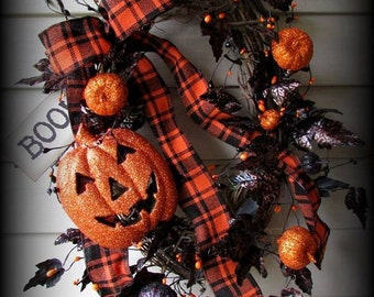 "Boo Halloween Wreath - Orange and Black-Pumpkin Face - NEW-26"""