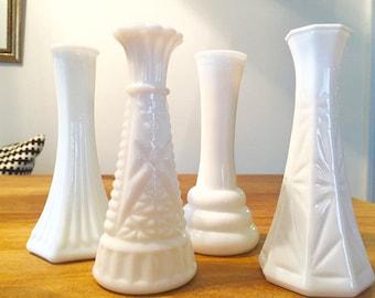 Milk Glass Bud Vases-Set of 4