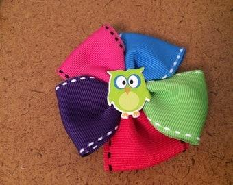Multi Colored Owl Barrette