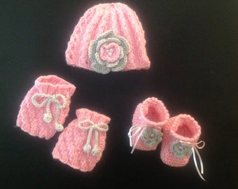 Baby Girl Hat, Booties and Leg Warmers Newborn to 6 months